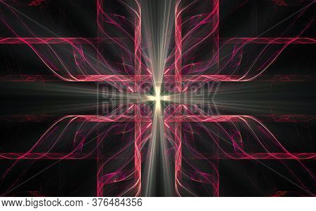Abstract Illustration Of A Fantastic Star With Many Rays On A Black Background