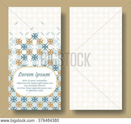 Islamic Card Design For Invitation, Celebration, Save The Date, Wedding Performed In Islamic Geometr
