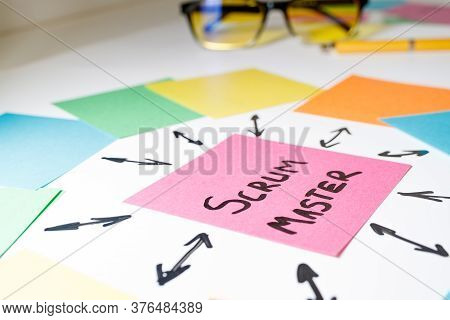 On The Sheet Of Paper Is Written The Scrum Master, From The Sheet, Arrows Are Drawn With A Marker In