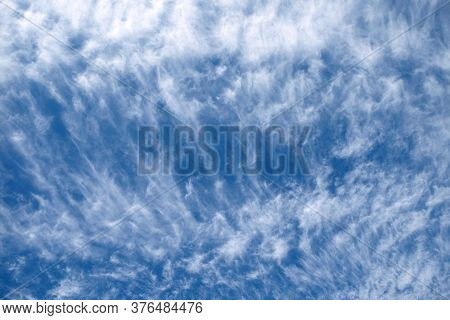 Abstract Sky Background From White Clouds Tracery On The Blue Sky On Bright Sunny Day Horizontal Vie