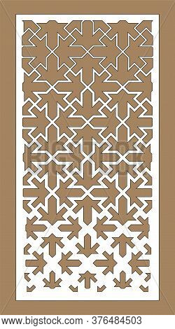 Laser Cutting Pattern For Cnc. Arabesque Gradient Vector Panel. Decorative Jali Sheet. Template For