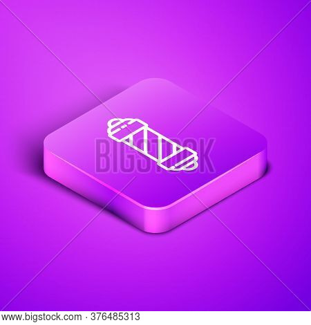 Isometric Line Classic Barber Shop Pole Icon Isolated On Purple Background. Barbershop Pole Symbol.