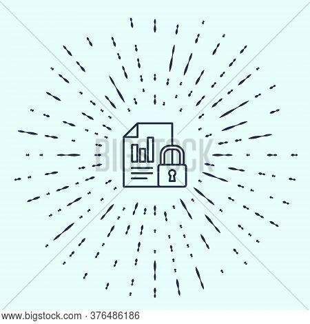 Black Line Document And Lock Icon Isolated On Grey Background. File Format And Padlock. Security, Sa