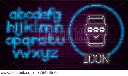 Glowing Neon Line Mobile And Password Protection Icon Isolated On Brick Wall Background. Security, S