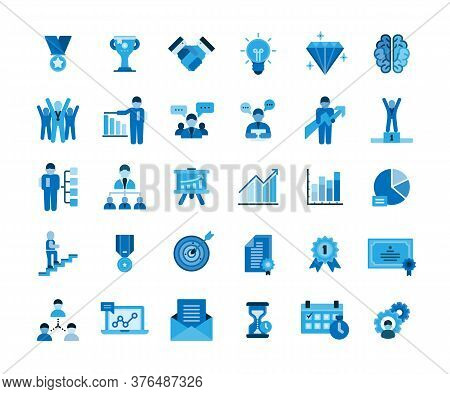 Business Success Icons Set. Icons For Business, Management, Finance, Strategy, Planning, Analytics,