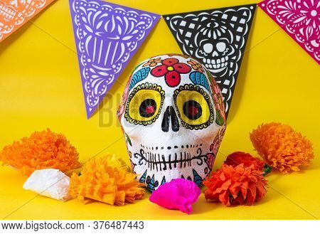 Hand Painted Skull, Colorful Day Of The Dead Banner And Colorful Flowers On Yellow Background. Day O