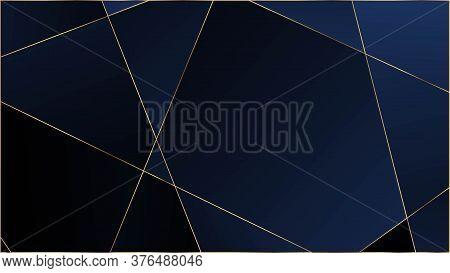 Blue Luxury Polygon Texture. Elegant Dark Platinum Chic Shapes Frame Gold Lines Triangular Premium B