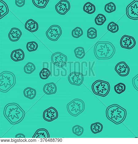Black Line Shield And Marijuana Or Cannabis Leaf Icon Isolated Seamless Pattern On Green Background.