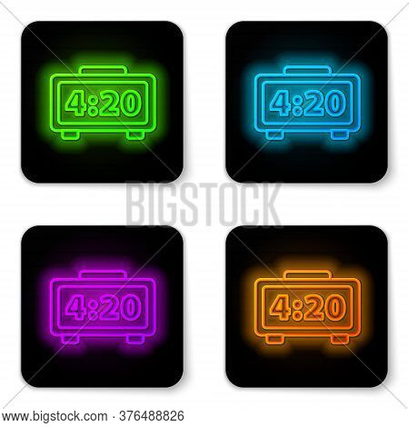 Glowing Neon Line Digital Alarm Clock Icon Isolated On White Background. Electronic Watch Alarm Cloc