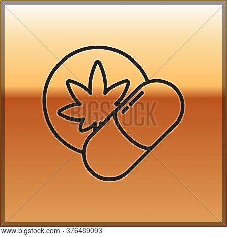 Black Line Herbal Ecstasy Tablets Icon Isolated On Gold Background. Vector Illustration