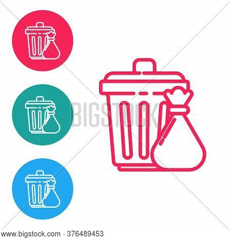 Red Line Trash Can And Garbage Bag Icon Isolated On White Background. Garbage Bin Sign. Recycle Bask
