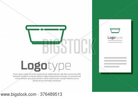 Green Line Plastic Basin Icon Isolated On White Background. Bowl With Water. Washing Clothes, Cleani