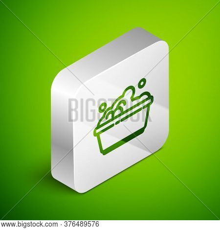 Isometric Line Plastic Basin With Soap Suds Icon Isolated On Green Background. Bowl With Water. Wash