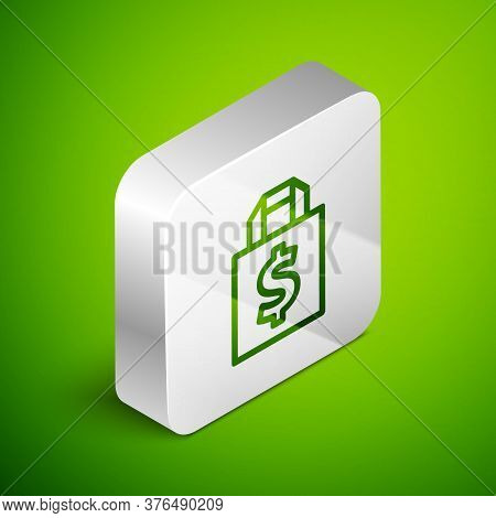 Isometric Line Shoping Bag And Dollar Symbol Icon Isolated On Green Background. Handbag Sign. Woman