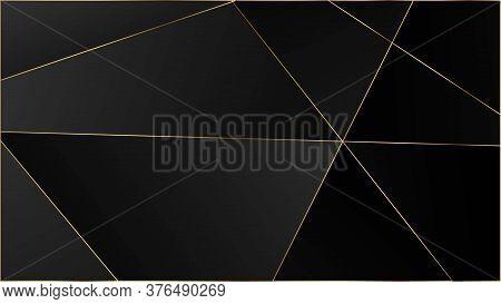 Black Luxury Polygon Texture. Gold Lines Triangular Premium Poster. Elegant Dark Platinum Chic Shape