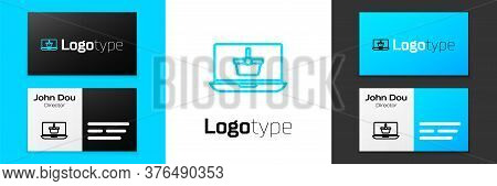 Grey Line Shopping Basket On Screen Laptop Icon Isolated On White Background. Concept E-commerce, E-