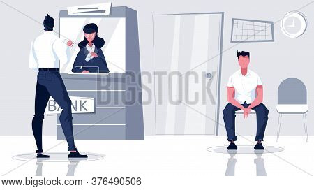 Bank Cashier Flat Composition With Indoor Branch Scenery And Waiting People With Cashiers Window And