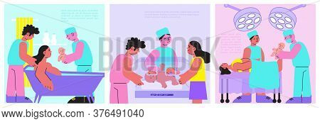 Childbirth Set Of Three Flat Backgrounds Square Banners With Maternity Hospital Situation Images And