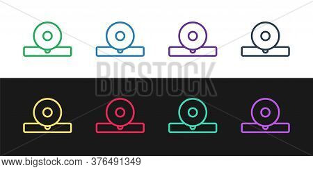 Set Line Otolaryngological Head Reflector Icon Isolated On Black And White Background. Equipment For