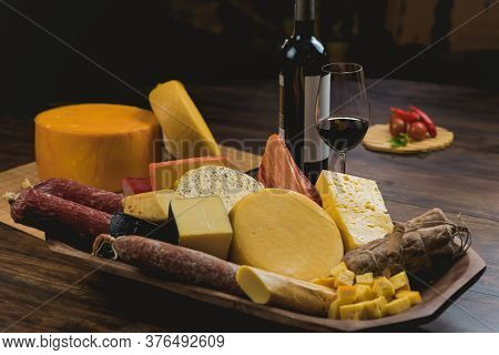 Tray With Cheese, Salami, Pork, Wine Accompaniments