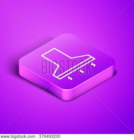Isometric Line Kitchen Extractor Fan Icon Isolated On Purple Background. Cooker Hood. Kitchen Exhaus