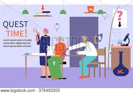 Adult Hobby Leisure Party Weekend Free Time Fun Flat Composition With Playing Quest Game Team Vector