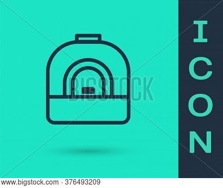 Black Line Oven Icon Isolated On Green Background. Stove Gas Oven Sign. Vector Illustration