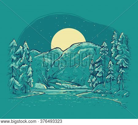 Night Romantic Hand Drawn Vector Illustration On A Dark Background. Braies Lake (lago Di Braies). Do