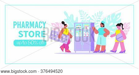Pharmacy Store Banner With Pharmacist Near Showcase Clients And Discount Advertising Flat Vector Ill