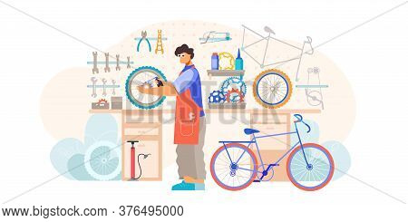 Bicycle Shop Repair Maintenance Service Flat Composition With Craftsman Holding Wheel Fixing Inner T