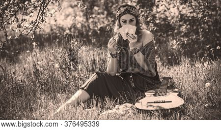 Gypsy Woman With Tarot Cards And Guitar At Field, Lifestyle, Predicting, Ideas For Costume On Hallow