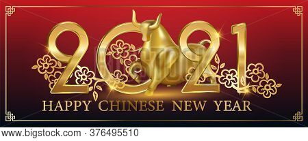 Chinese New Year 2021 Year Of The Ox , Red And Gold Card Ox Character, Flower And Asian Elements Wit