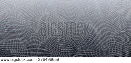 Vector Background With Horizontal Distorted Lines. Cyberpunk Design Template With Glitch Distortion