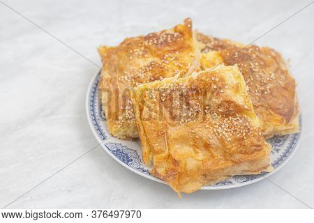 Serbian Cheese Pie Gibanica Served On The Plate