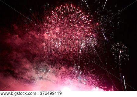 Bright Colorful Fireworks In The Dark Night Sky