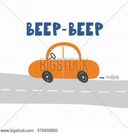 Beep-beep Car Lettering. Cars And Text Chid Print Of Hand Dawn Vehicle. Nursery Art Design, For Prin