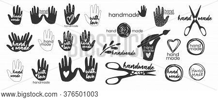 Handmade. Badges, Labels And Logo Elements, Retro Symbols For Handcrafted Shop, Hand Made Product, P