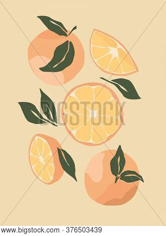 Abstract Still Life With Oranges In Pastel Colors. Hand Draw Of Modern Art In A Flat Style. Fruits W