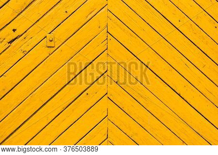 Obsolete Yellow Painted Wooden Background Texture. Outdoor, Macro.