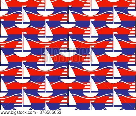 Vector Seamless Texture With Sailboats And Waves Pattern