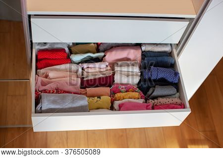 Vertical Storage Of Clothing. Clothing Folded For Vertical Storage In The Linen Drawer. Nursery. Sli