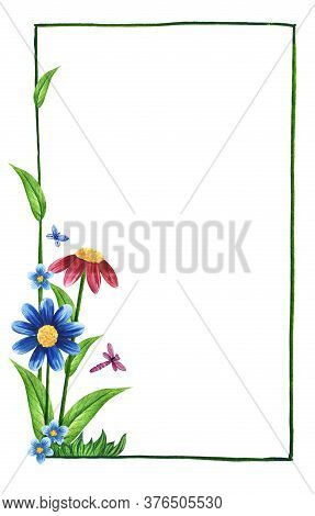 Watercolor Floral Frame On White Background With Empty Place For Text. Thin Green Frame With Small B