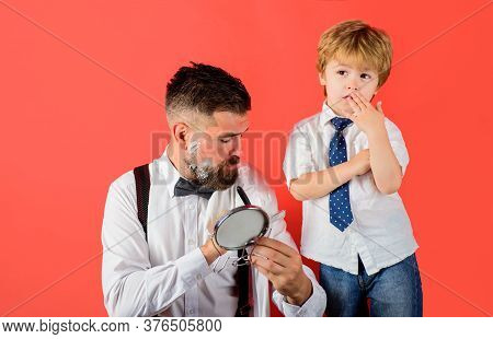 Family Time. Little Barber. Son And Dad Shaving Beard. Assistant For Dad. Barbershop Concept. Father