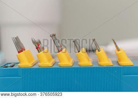 Set Of Nozzles For A Dental Bur Machine Macro Close Up.