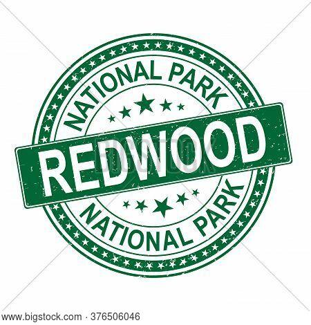Rubber Stamp Redwood National Park, California Vector Illustration