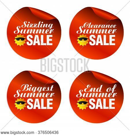 Red Summer Sale Stickers Sizzling, Clearance, Biggest, End Of With Funny Sun Icon. Vector Illustrati