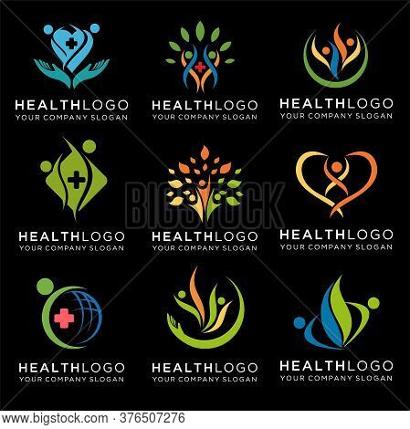 Set Of Medical Healthy Icon Logo Design, Medical Logo Vector Template, Health Care Logo Design Templ