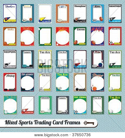 Vector Set: Vintage Sports Trading Card Picture Frames