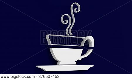 3d Rendering Of Coffe Cup Logo Cut In Half With A Blue Background