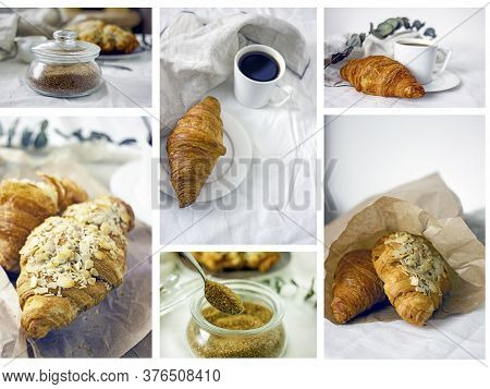 Fresh Croissants And Coffee Collection. Two Croissants On A Plate Near A Cup Of Coffee On A Light Ba